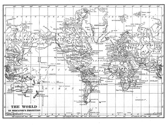 Black white world map printable file instant download large black white world map printable file instant download large vintage 1915 image for wall hanging or background also in gray and blue from workbox on etsy gumiabroncs Images