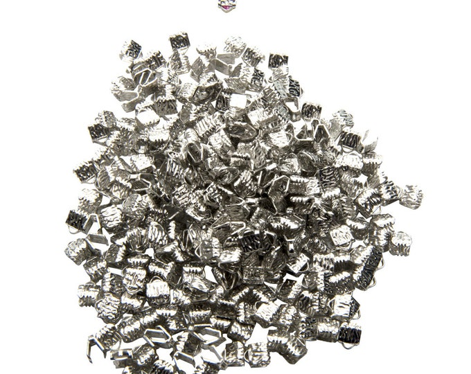 500pcs. - 6mm or 1/4 inch Platinum Silver Ribbon Clamps - Artisan Series