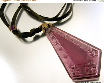 Love Yourself Sale Art Deco Molded Purple Glass Pendant Necklace on Black Ribbon with Slide