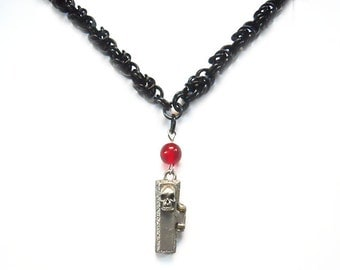 Coffin necklace, Gothic, Skull, Chainmaille, Silver red and black, Coffin really opens