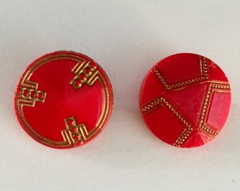 2 Vintage Czech Glass Buttons - Gold Metallic on Red Glass