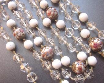 Wedding Cake Vintage Beaded Necklace Crystal Murano Glass Jewelry