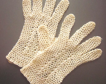 Vintage Lace Gloves Hand crochet Downton Abbey Style