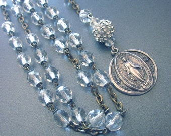 Vintage Rock Crystal Rosary Y Necklace Religious Assemblage Virgin Mary Medal