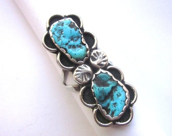 Old Pawn Antique Turquoise Sterling Silver Ring Native American Jewelry Natural Turquoise Navajo Ring