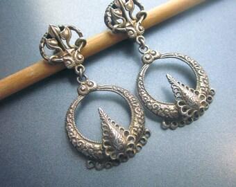 Vintage Sterling Silver Hoop Earrings Clip On Napier Sterling