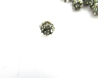 Vintage Rhinestone Ball Bead 1pc French Finding 7mm Metal Antique French Art Deco