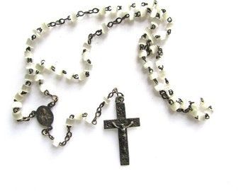 French Feldspar Rosary Beads France Vintage Rosaries Religious Medals Silver Opaque White