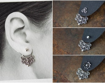 NEW Bigger Artisan Handcrafted Silver Ear Jacket, sterling silver front and back earring, Unique interchangeable mix and match stud earrings