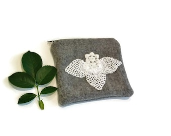Zippered bag gray pouch white doily pearls applique