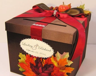 Wedding  Card Box Fall Gift Card Box Choco brown and Red/Scarlet Money Box Holder-Customize/made to order (10x10x9)