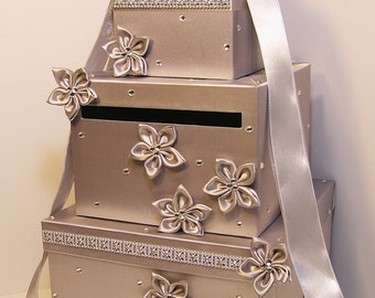 Wedding Card Box Silver Gift Card Box Money Box Holder-Customize your color