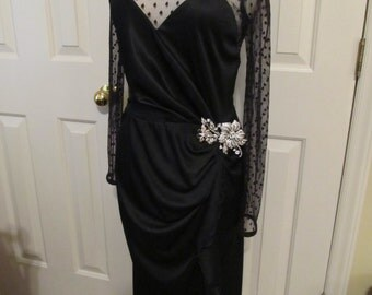 1930 Black Elegant Dress