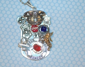 Police Officer Dog Tag Charm Necklace , Police Collage Necklace , Police Necklace