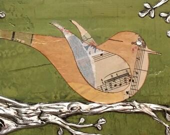 Bird on a Branch, Original Bird Art - Mixed Media Collage