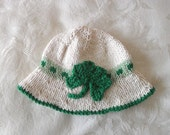St. Paddy's Day Hat Knitted Baby Hat Knitting Irish  Baby Hat St. Patrick's  Day Hat Hand Knitted Baby Clothing Shamrock Baby Hat