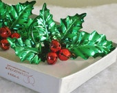 Set of Four Vintage Christmas Poinsettia Napkin Rings, Dept 56 Metal Red Berries and Green Leaves Napkin Holders, Holiday Table Decor