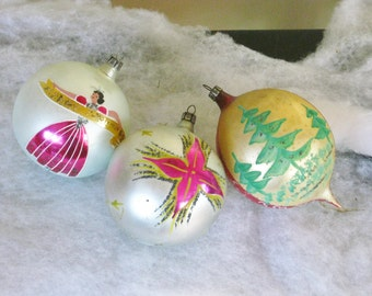 Three 3 Vintage Jumbo Christmas Tree Ball Ornaments, Extra Large Decorated Mercury Glass Holiday Decor Decoration