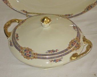 Antique German Covered Casserole Dish, Classic Vegetable Side Bowl with Lid, Blue Floral Band with Flower Bouquet, Heavy Gold Trim Handles