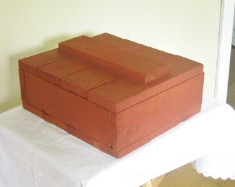 Vintage Storage Box Hinged Wooden Crate Thick Heavy Wood Red Brown Paint