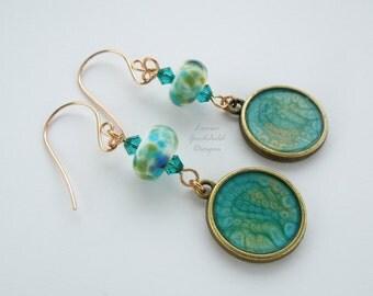 Bronze teal earrings, teal and green earrings, bronze lampwork earrings, turquoise earrings, teal earrings, shimmery earrings, long earrings
