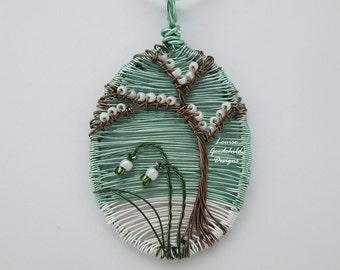 Snowdrops pendant, wire tree pendant, wearable art, snowdrop jewelry, snowdrop necklace, winter, snow