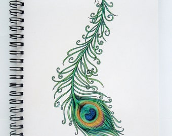 Peacock Feather notebook, peacock sketchbook, A5 notebook, original artwork notebook, peacock feather print, ring bound, spiral bound
