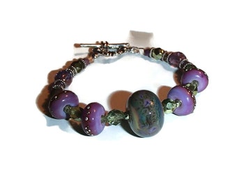 Muted Purple Lavender Lampwork Beads Czech Glass Artisan B14