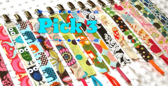 Pacifier Clips - Soothie Pacifier Clips - Over 85 choices - Dummy Chain - Binky Clip - Pacifier Holder