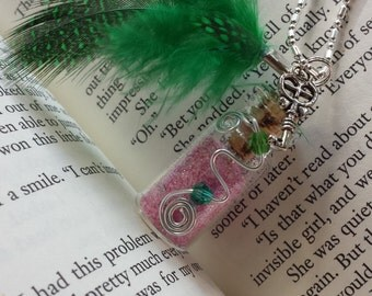 Fairy Glitter Bottle Necklace Pink w/ Emerald Green Feather, Crystals & Wire - .925 Silver Chain