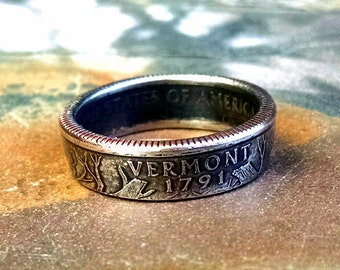 Vermont Quarter Ring - Coin Ring 2001Vermont Quarter Dollar Coin Ring - Size: 7 1/4