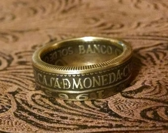 Brass Coin Ring - 1965 Peru Coin Ring Sol de Oro - Size: 8 1/4