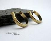 Gold Hoop Earrings, One Inch Hoops, Medium Gold Filled Hoops, Gold Patterned Earring Hoops - Botanical Series