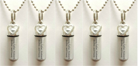 """Set of 5 ENGRAVED Brushed Silver CREMATION URN Necklaces """"Loving Father Husband Brother and Friend"""" w/Open Hearts, Velvet Pouches & Fill-Kit"""