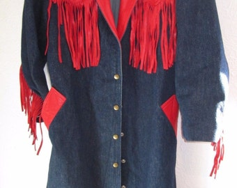 Diamond Denim & Leather Western Duster Coat S Fringe USA Costume VINTAGE burner