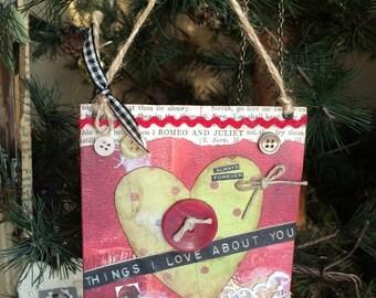 Mixed Media Love Themed Ornament