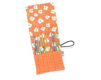 Mini Crochet Hook Case -  Persimmon Magnolia - crochet hook organizer crochet hook holder