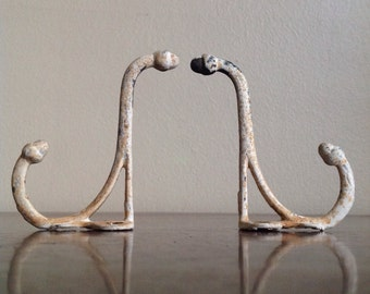 Vintage Scrolled Wall Hooks. Chippy, Shabby Chic.