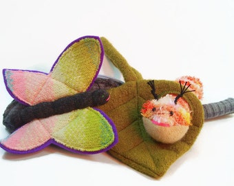 Butterfly Play Set, waldorf toy, all natural toy, eco friendly toy, velcro learning toy, stuffed animal, stuffed toy