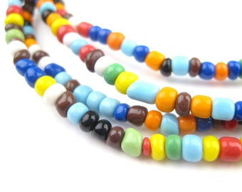 360 Atuanya Rainbow Beads - African Tribal Beads - Tribal Glass Beads - Small Ghana Beads - Small Glass Beads (GHN-SED-MIX-104)
