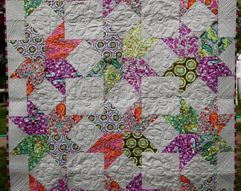 MarveLes  LAP QUILT Tula Pink Chipper Fabrics in a Cozy Quilt Multiple Bright Colors Turquoise Green Pink Purple Orange