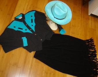 Western Annie Oakley rodeo princess cowgirl hat shirt skirt women sz L XL Halloween Costume