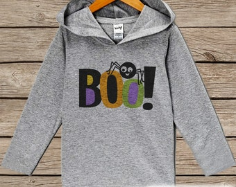 Kids Halloween Shirts - Boo! Spider Hoodie - Boy or Girl Halloween Grey Hoodie Kids Pullover - Halloween Hoodie - Toddler Halloween Costume