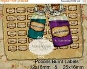 SALE 30% OFF - LABELS Potions Burnt Mini Labels -  12x18mm & 25x16mm - Harry Potter Potions Labels -  digital bottle labels - collage bottle