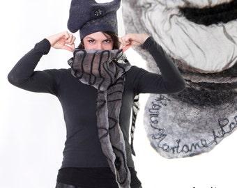 Elegant Silk Wool Woman Scarf, Gray Black art accessories, Paris Designer shawl, Translucent art scarf, lightweight gray nuno felt, France