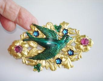 Vintage Jewelry Bird Rhinestone Animal Brooch