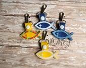Christian Fish Snap Tab Key Fob - Religious key chain,  Embroidered Yellow Vinyl, Spiritual keychain