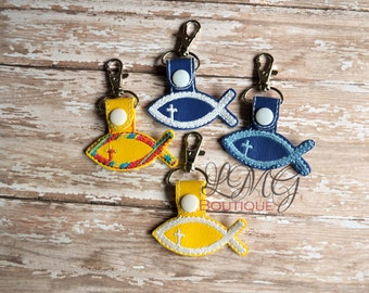 Christian Fish Snap Tab Key Fob - Religious key chain,  Embroidered Yellow Vinyl, Spiritual keychain
