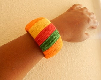 Rasta Jamaican African Wrapped Wooden Bangle