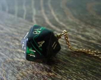D20 dice necklace dungeons and dragons pendant dice pendant D20 pendant dice jewelry dice necklace greenblack dice geekery pathfinder nerd